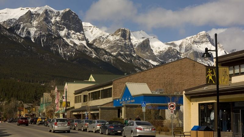 Downtown Canmore Alberta with mountain in background