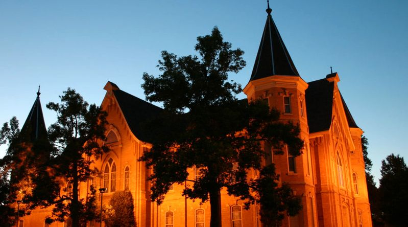 View of Provo Tabernacle in the evening. One of the places seen during the Pedal Provo Ghost Tours