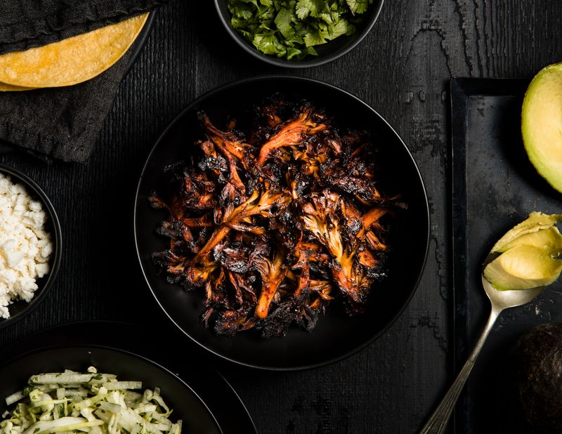 Blackened Guajillo Chile Mushroom Tacos