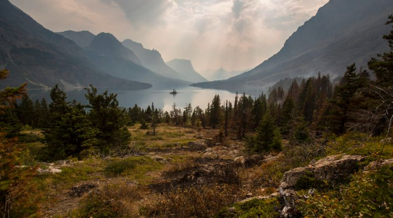 An alpine lake in Glacier National Park off Highway 89