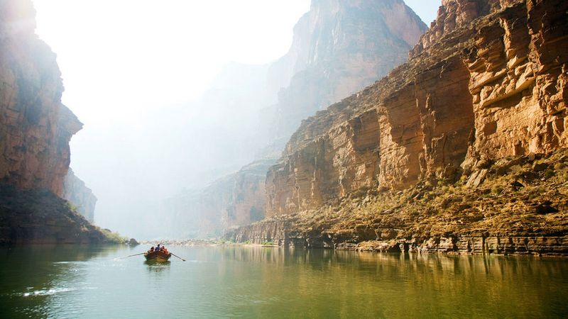 Rafting down the Colorado River in Grand Canyon National Park