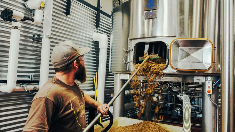 The brewmaster working at SLO Brew