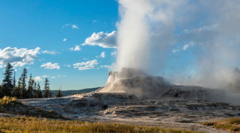 Castle Geyser late evening eruption at Yellowstone, a UNESCO-recognized national park