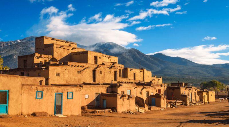 Ancient adobe dwellings of Taos Pueblo, New Mexico