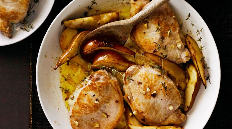 Gorgonzola-Stuffed Pork Chops with Pears