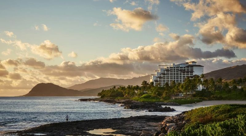 Exterior view of the Four Season Ko Olina, a great resort for Thanksgiving couples getaways