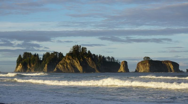 Rock formations in the ocean at Olympic National Park
