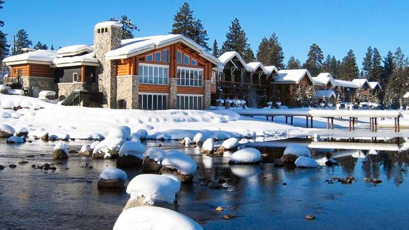 Shore Lodge covered in snow in McCall, ID