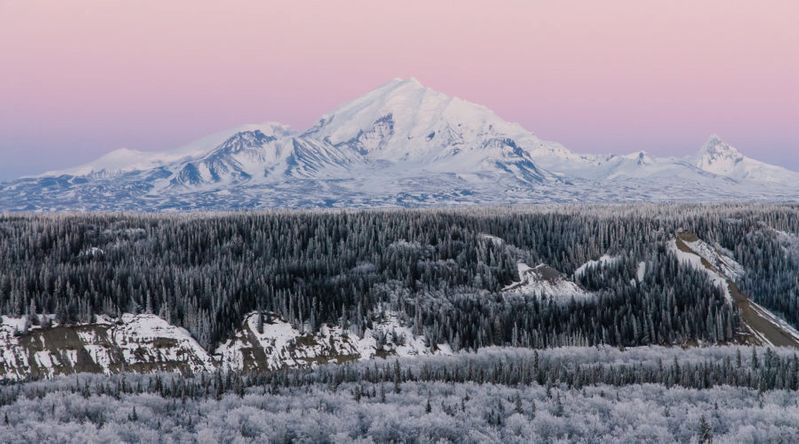 Wrangell-St. Elias mountain covered in snow in the UNESCO-recognized Alaska park