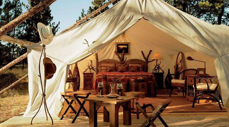 Cozy tents at The Resort at Paws Up in Montana