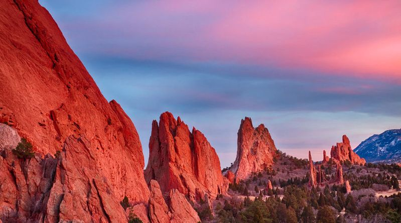 Sunset view of Garden of the Gods in Colorado Springs, one of the most affordable Thanksgiving getaways
