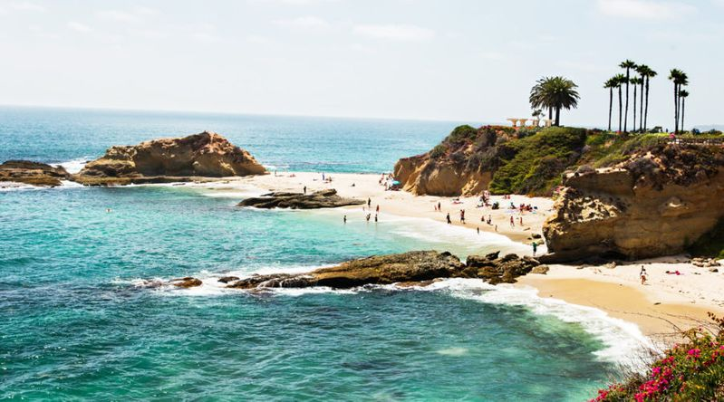 Scenic view of a cove in Laguna Beach, California