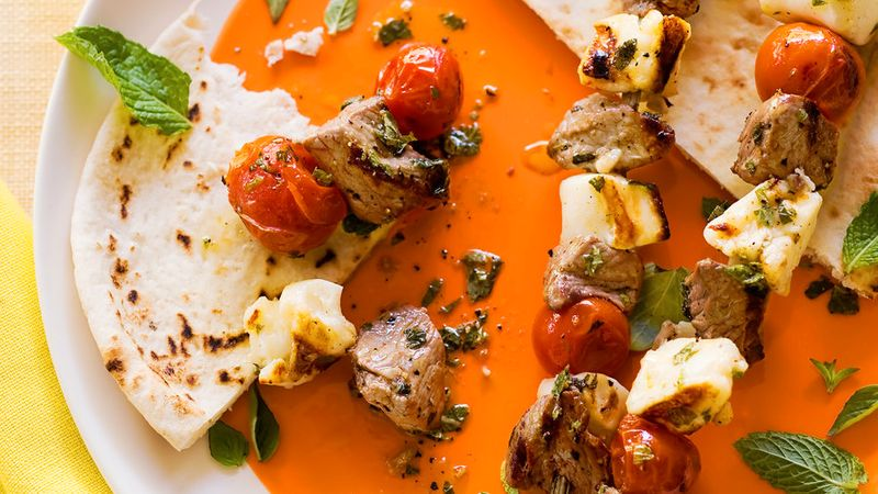 Grilled Lamb and Halloumi Kebabs